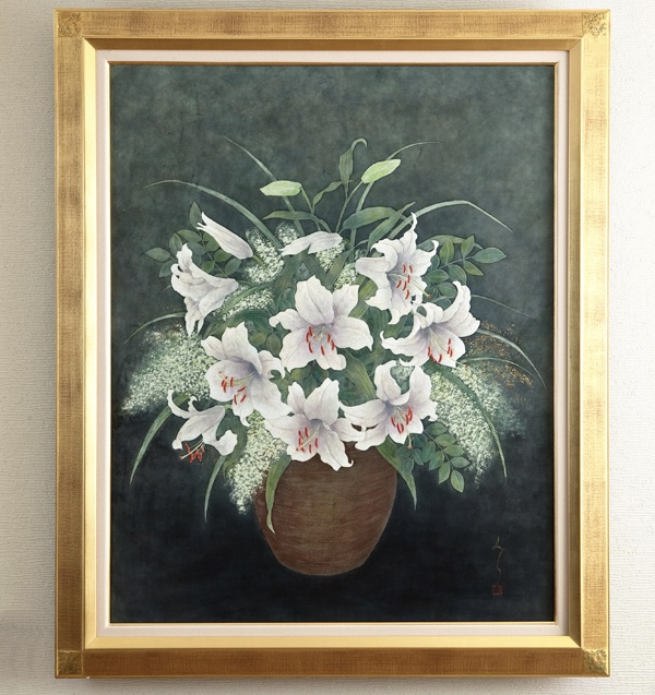 革絵『ゆり』第35回日本革工芸展展示作品