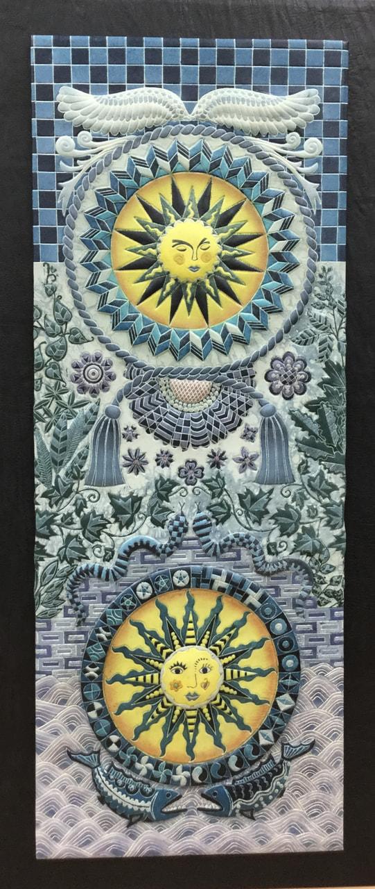 革絵『太陽神』第35回日本革工芸展入選作品