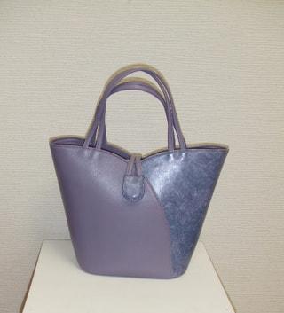 レザークラフト チューリップバッグ薄紫