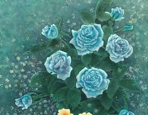 薔薇のろうけつ染 レザークラフト教室 革工芸教室