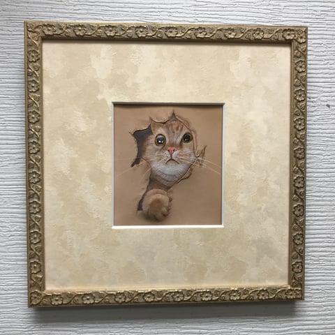 フィギュアカービング猫完成 レザークラフ 教室 革工芸教室
