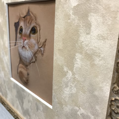 フィギュアカービング子猫右横から レザークラフ 教室 革工芸教室