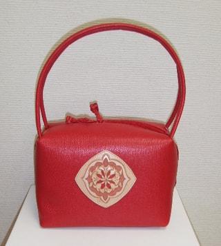 レザークラフト ボックスバッグ赤