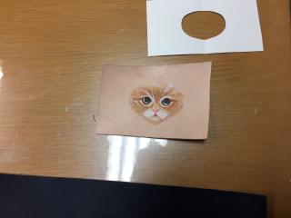 レザークラフト 猫の顔