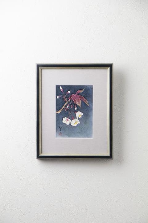 ろうけつ染め絵『山桜』 レザークラフト教室 革工芸教室