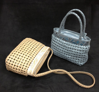 レザークラフト 石畳編みバッグ