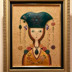 革絵『月姫』第35回日本革工芸展入賞作品