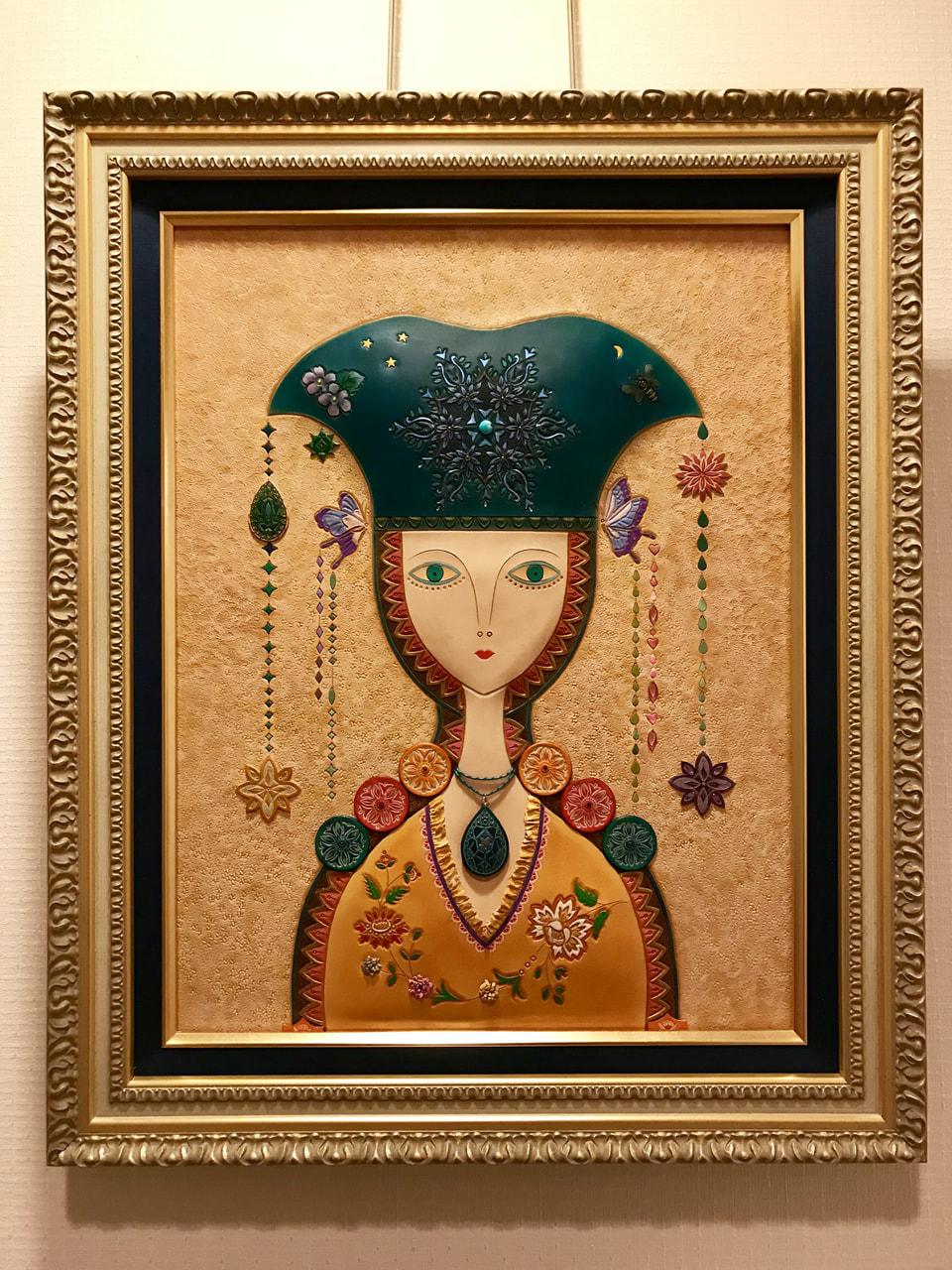 革絵『月姫』第35回日本革工芸展入選作品