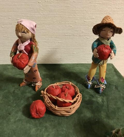 革人形りんご収穫2 レザークラフト教室 革工芸教室