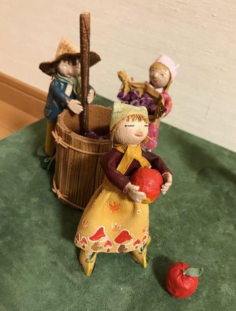 革人形りんご収穫 レザークラフト教室 革工芸教室