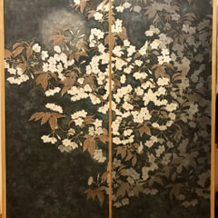 革絵『山桜』第35回日本革工芸展展示作品
