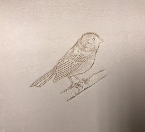 フィグアカービング手順小さい鳥 レザーアート研究会 革工芸教室