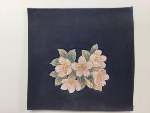 桜染色終了 レザークラフ教室 革工芸教室