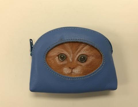 覗き猫コインボックス  レザークラフト 教室 革工芸教室
