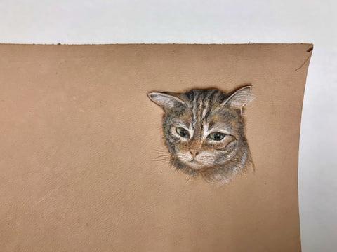 フィギュアカービング 猫チャーム5 レザークラフ教室 革工芸教室