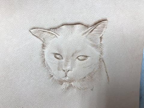 フィギュアカービング 猫チャーム3 レザークラフ教室 革工芸教室
