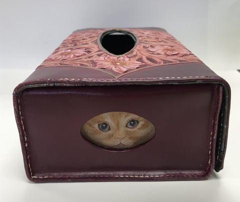 猫のティシュボックス猫の顔 レザークラフト教室 革工芸教室