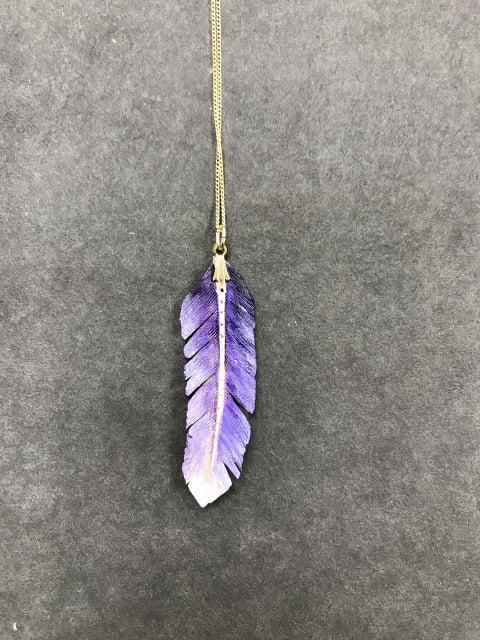 ペンダント紫 レザークラフト教室 革工芸教室