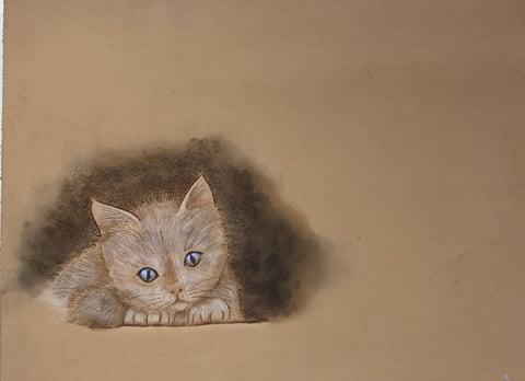 フィグアカービング子猫 レザーアート研究会 革工芸教室