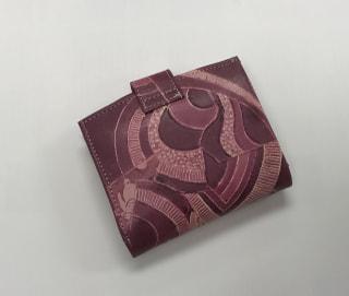 レザークラフト教室 革工芸教室 ろうけつ染め財布後ろ側