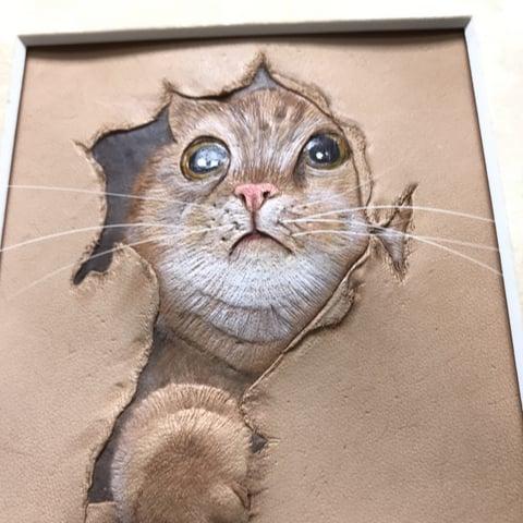 フィギュアカービング子猫下から レザークラフ 教室 革工芸教室