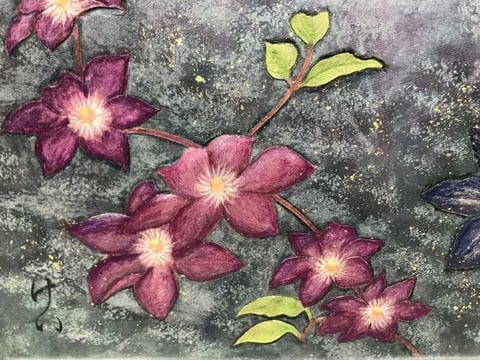 IFoLG作品ろうけつ染花の部分−1 レザークラフト教室 革工芸教室