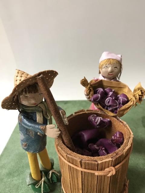 ぶどうの収穫 レザークラフト教室 革工芸教室