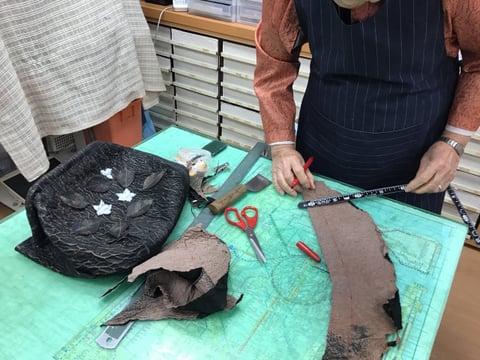 バッグ裁断 レザークラフト教室 革工芸教室