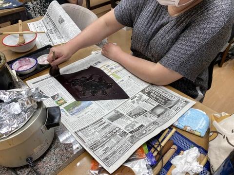 臈纈染め染色 レザークラフト教室 革工芸教室
