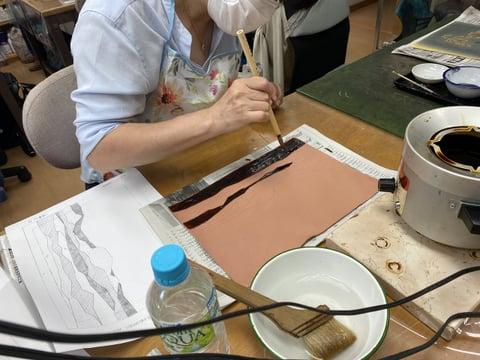 ろうけつ染め」 レザークラフト教室 革工芸教室