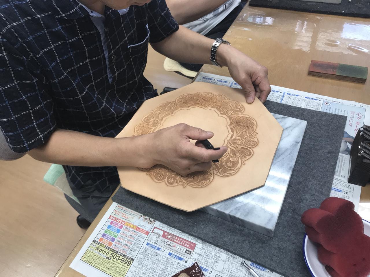 レザークラフト 教室 日曜クラス9月2回目