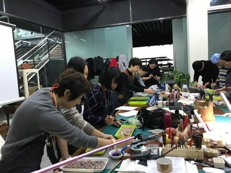 講習会しぼり染め−2 レザークラフト教室 革工芸教室