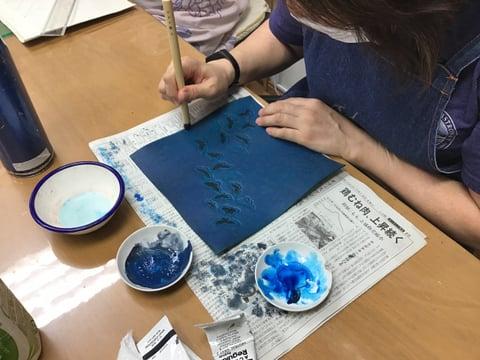 蝶のカービング レザークラフト教室 革工芸教室