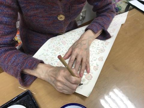 手描き更紗 レザークラフト 教室 革工芸教室