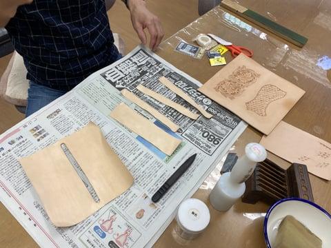 ウォレットカービング内側パーツ レザークラフト教室 革工芸教室