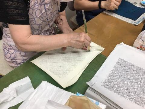 革の手描き更紗 レザークラフト教室 革工芸教室