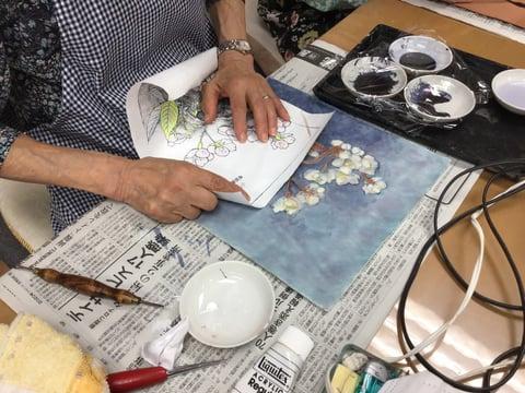 ろうけつ染め山桜 レザークラフト教室 革工芸教室