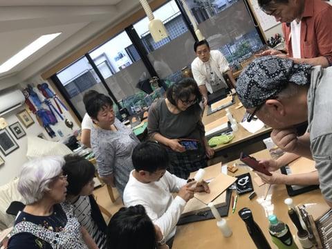 フィギュアカービング講習会 打刻の見本 レザークラフト教室 革工芸教室