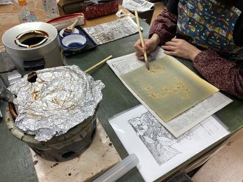 革の臈纈染め レザークラフト教室 革工芸教室