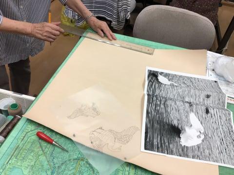 革の図案書き レザークラフト教室 革工芸教室
