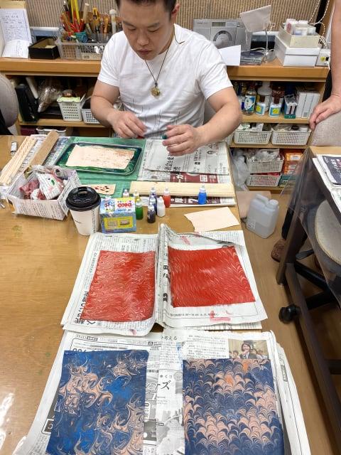マーブル染め レザークラフト教室 革工芸教室