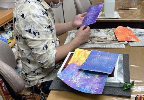 革のマーブル染 レザークラフト教室 革工芸教室