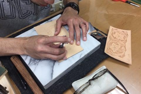 カービング見本 レザークラフト教室 革工芸教室