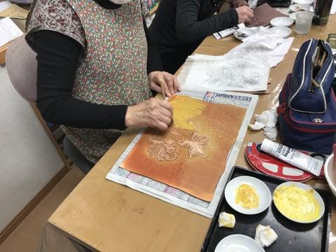 花のカービング染色 レザークラフト 教室 革工芸教室