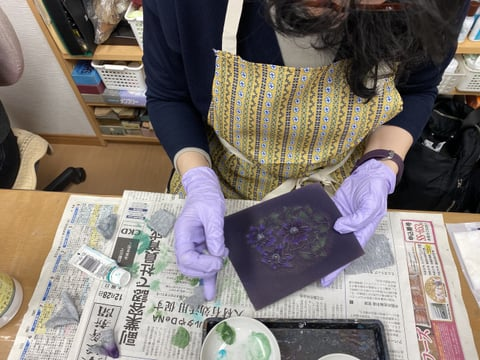 革の染色 レザークラフト教室 革工芸教室