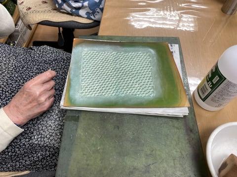 バスケットスタンプ拭き取り レザークラフト教室 革工芸教室