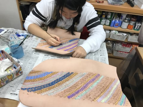 スタンピング染色中3 レザークラフト教室 革工芸教室
