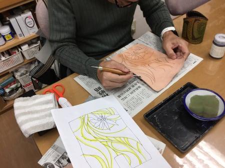 スーベルナイフ練習 レザークラフト教室 革工芸教室