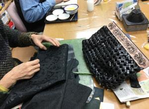 レザークラフト教室 石畳編みバッグ仕立