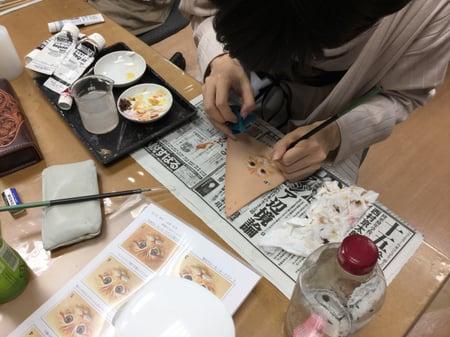 猫の顔 レザークラフト教室 革工芸教室